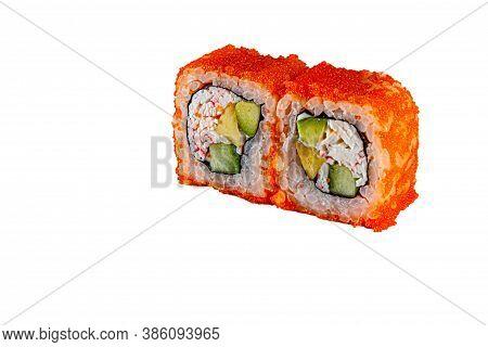 Japanese Maki Rolls.tobiko Caviar, Rice, Crabs, Surimi, Nori. For Menus. Isolated.