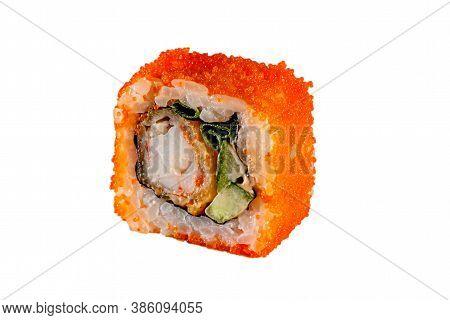Japanese Maki Rolls. Tobiko Caviar, Tuna, Philadelphia, Shrimp, Rice, Nori, Cucumber, Avocado, Hot S
