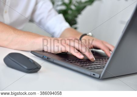 Businessman Hands Typing On Laptop. Occupation And Worker Concept. Close Up