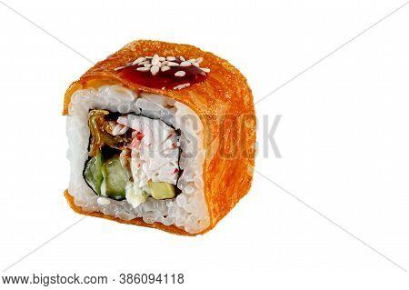 Japanese Maki Rolls. Tamago-yaki, Rice, Nori, Crab, Surimi, Eel, Cucumber, Avocado, Hot Sauce, Sesam