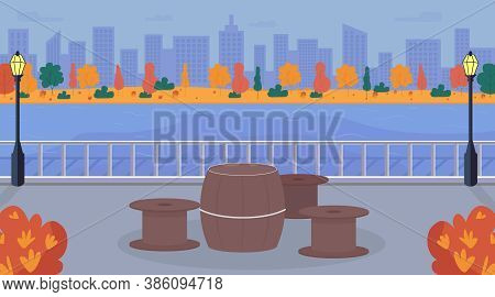 Urban Picnic Area Flat Color Vector Illustration. Counter On Street. Sidewalk Near Water. Table And