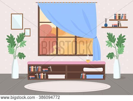 Cosy Room Flat Color Vector Illustration. Curtain Decoration. Furnished Residential House. Shelves W