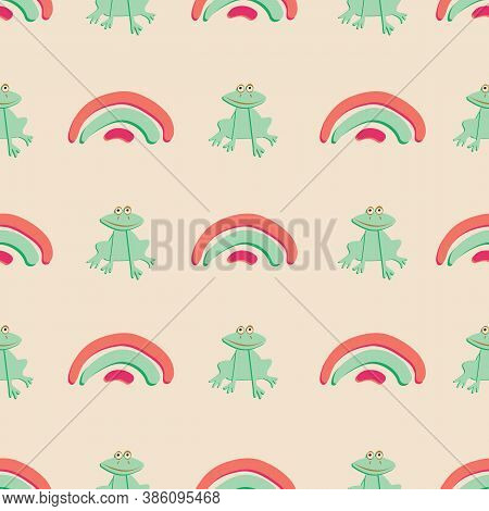 Childish Frogs And Rainbows Seamless Vector Pattern. Cure Surface Print Design For Fabrics, Statione