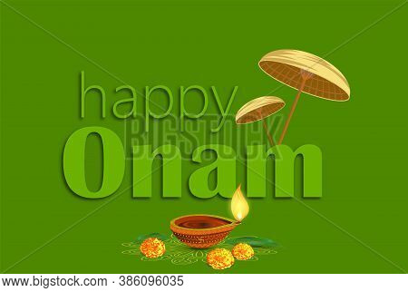 Happy Onam A Very Famous South Indian Festival Of India. Kathakali Face Vector Design A Classical Da