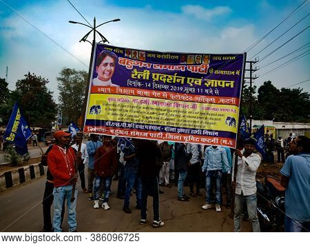District Katni, India - December 24, 2019: Indian Political Rally Road Show With Poster Display Of P
