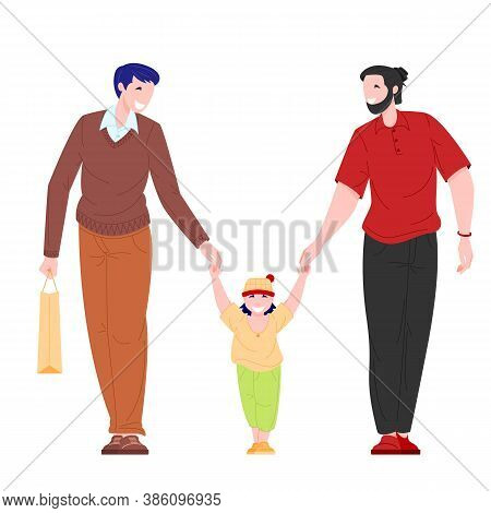 Homosexual Family Concept. Couple Of Young Men And Male Kid Walk Outdoor. Flat Cartoon Character Vec