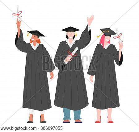 Group Of Graduates Students Holding Diplomas Flat Vector Illustration. Happy Characters Girls And Bo