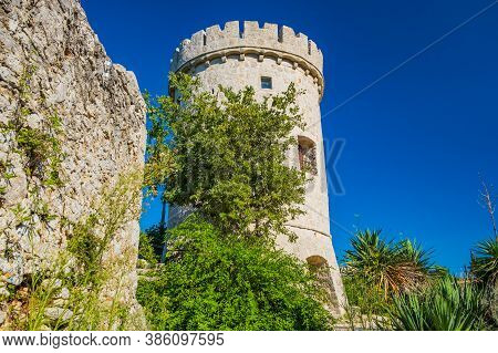 Old Tower Fortress In Town Of Cres, Kvarner, Croatia