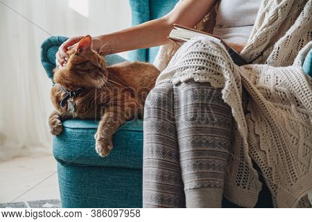 Young Woman Sitting In A Cozy Armchair, With A Warm Blanket, Wit