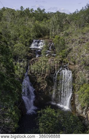 Florence Falls, In The Northern Territory Of Australia, On A Sunny Day.