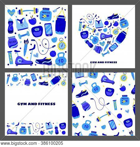 Set Of Cards With Colored Gym And Fitness Icons Including Exercise Bike, Sport Bra, Bottle, Whey Pro
