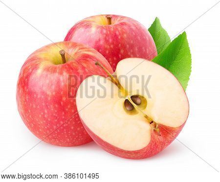 Isolated Apples. Two Whole Pink Lady Apples And A Half Isolated On White Background