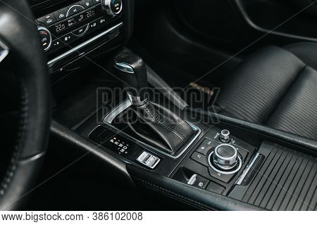 Novosibirsk, Russia - September 19, 2020: Mazda 6, Close Up Of The Manual Gearbox Transmission Handl