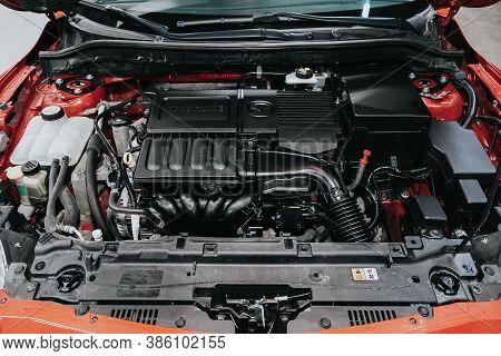 Novosibirsk, Russia - September 19, 2020: Mazda 3, Car Engine Close-up. Internal Combustion Engine,