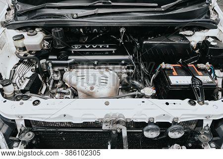 Novosibirsk, Russia - September 19, 2020: Toyota Ipsum, Car Engine Close-up. Internal Combustion Eng
