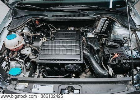 Novosibirsk, Russia - September 19, 2020: Volkswagen Polo, Car Engine Close-up. Internal Combustion