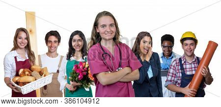 Laughing German Nurse With Group Of International Apprentices Isolated On White Background For Cut O