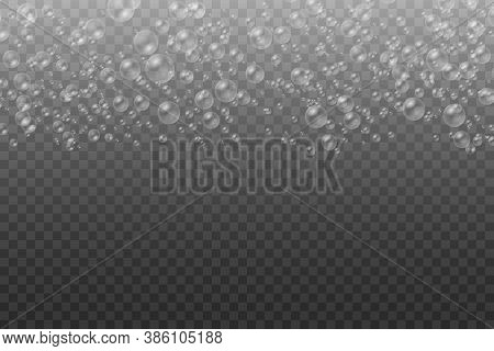 White Water Bubbles With Reflection Set On Transparent Background, Set Of Transparent Realistic Colo