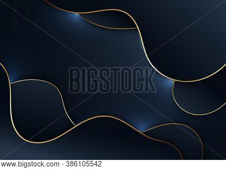 Abstract Elegant Blue Wave Shape With Gold Stripes On Dark Blue Background. Luxury Style. Vector Ill