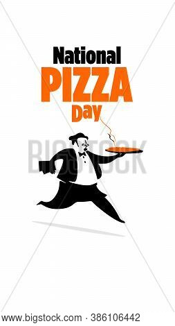 Vector Illustration Of Pizza Day With. Cartoon Style. Pizza Chef.