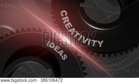 Combination Of Words Creativity And Ideas On Connected Gear Wheels Working Together Over Black Backg