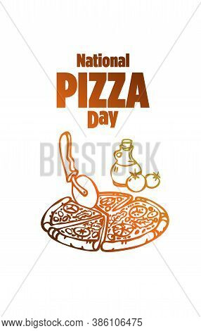 Vector Illustration Of Pizza Day With. Cartoon Style.