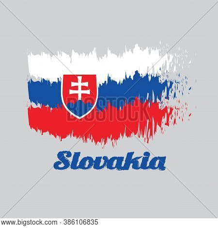 Brush Style Color Flag Of Slovak, White Blue And Red; Charged With A Shield Containing A White Cross