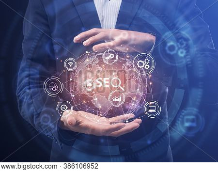 Seo-optimization Collage, Business Man Holding World Globe With Word Seo Standing Over Blue Backgrou