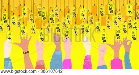 Sale Horizontal Banner. Hands Reach For The Sale Tags. Vector Cartoons Flat Design. Black Friday Sal