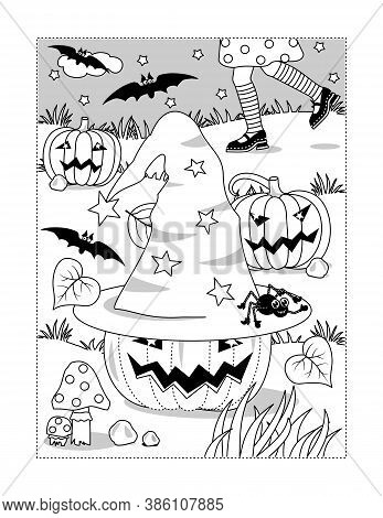 Coloring Page With Halloween Little Witch Hat And Pumpkin Field