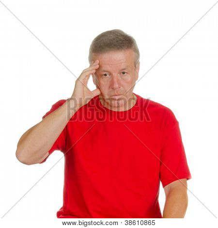 man touching his forehead. Isolated on white. Body language. Indecision. Uncertainty.