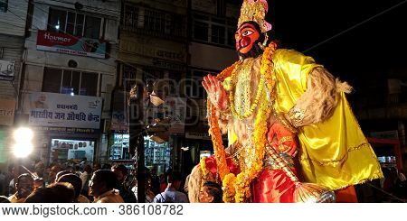 District Katni, India - October 08, 2019: Indian Religious People Crowd For Lord Hanuman Rath Yatra
