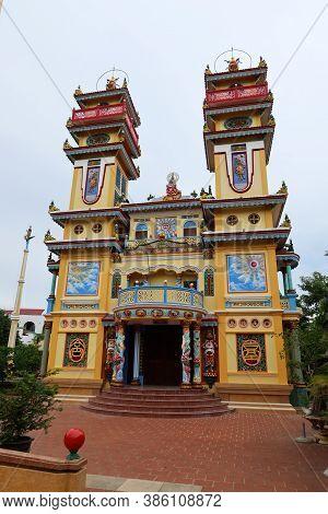 Hoi An, Vietnam, September 20, 2020: Colorful Main Facade Of The Cao Dai Taoist Temple. Hoi An, Viet