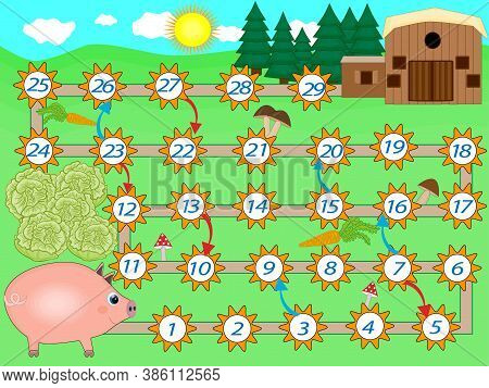 Kids Colorful Board Game Template With Pig. Educational Game For Children.