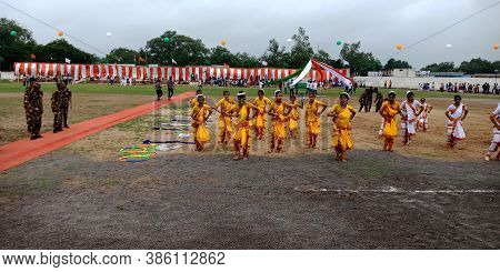 District Katni, India - August 15, 2019: Indian School Kids Performing Cultural Dance At City Playgr