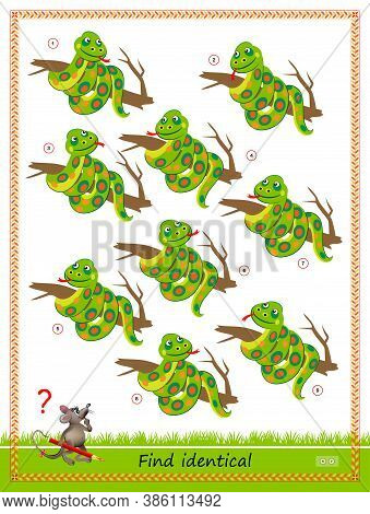 Logic Puzzle Game For Children And Adults. Find Two Identical Snakes. Printable Page For Kids Brain