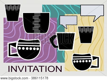 Artistic Abstract Vector Illustration Of Decorative Cups For  Invitation Meetings Chatting Purpose.