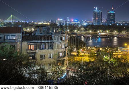 Belgrade / Serbia - November 2, 2019: View From The Belgrade Fortress Of The New Belgrade (novi Beog