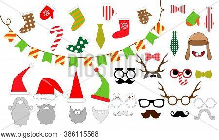 New Year Party - Elements For Photo. Christmas Props. Mask. Photo Booth Big Vector Set. Photo Overla