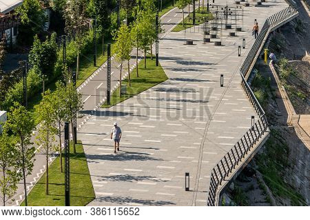 Belgrade / Serbia - June 30, 2019: Pedestrian Promenade Of The Belgrade Waterfront, Embankment Of Sa