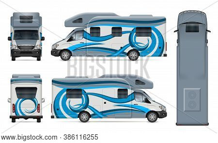 Recreational Vehicle Vector Wrap Mockup On White For Vehicle Branding, Corporate Identity. View From