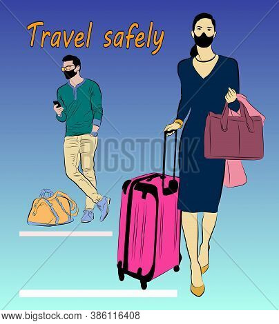 Vector Illustration Of A Running Woman With A Bag And Suitcase Standing By A Man. Masked Tourists Wi