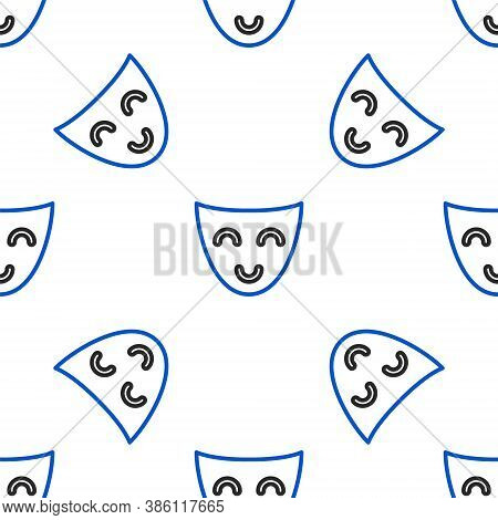 Line Comedy Theatrical Mask Icon Isolated Seamless Pattern On White Background. Colorful Outline Con