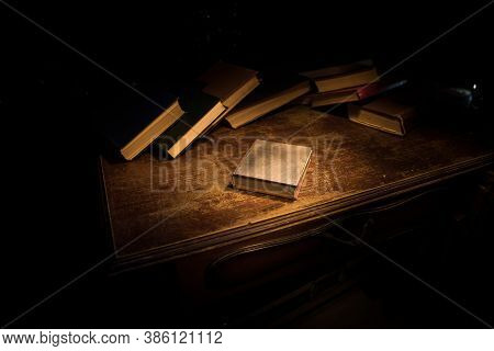 Imagine A Picture Book Of An Ancient Book Opened On A Wooden Table With A Sparkling Golden Backgroun