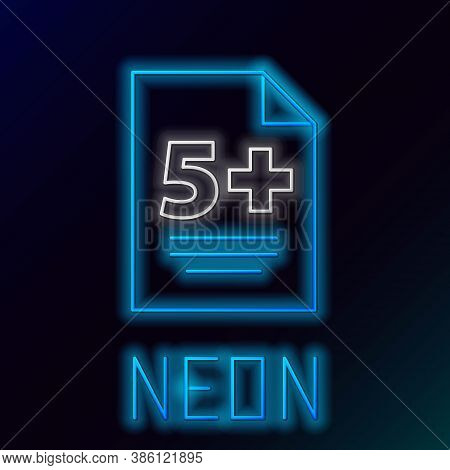Glowing Neon Line Test Or Exam Sheet Icon Isolated On Black Background. Test Paper, Exam Or Survey C
