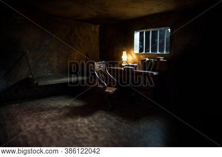 Jail Or Prison Cell. Man In Prison Man Behind Bars Concept. Old Dirty Grunge Prison Miniature. Dark