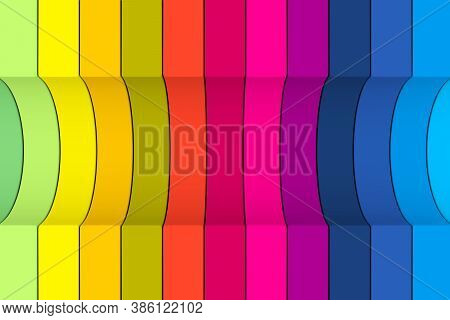 Colorful Curved Lines Abstract Background 3d Render Illustration