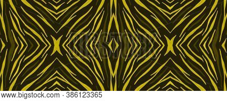 Seamless Safari Wallpaper. Abstract African Texture. Yellow Zebra Skin Pattern. Watercolor Stripes.
