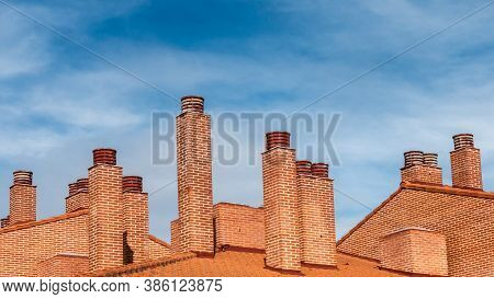 Chimney Stacks Seen On Spanish Roof Tops