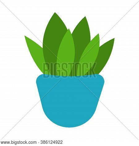 Vector Illustration Flower, Plant Growing In A Pot. Potted Plant Icon. Indoor Plant In A Pot Isolate